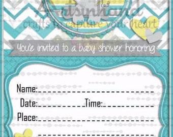 Baby Boy Elephant Shower Invitation
