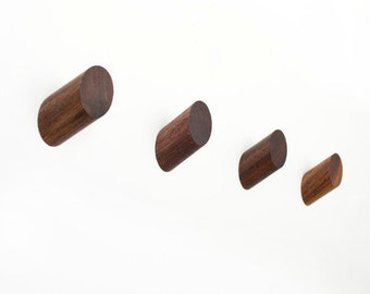Set of 4 Walnut Wall Hooks