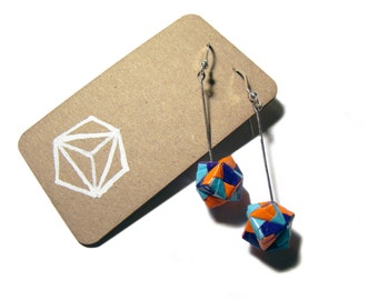 Geometric Origami Earrings - Purple, Orange and Blue