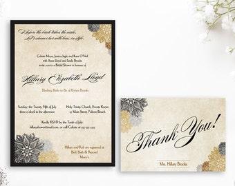 Black Gold Invitation, black gold bridal shower, Gatsby shower, Vintage shower, Gatsby invitation, Black Dahlia, vintage invitation, gothic
