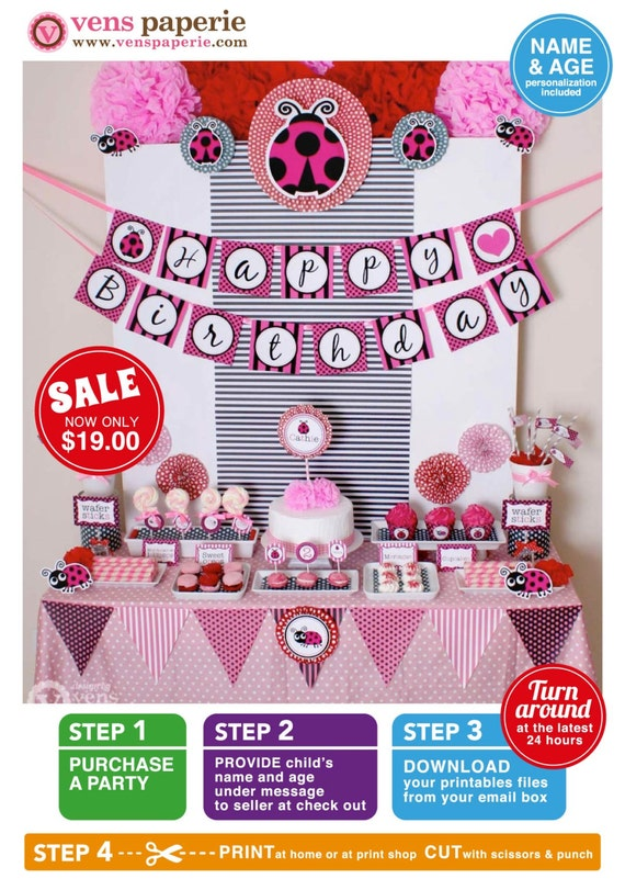 Pink Lady Bug Birthday Party Package Personalized FULL Collection Set  - PRINTABLE DIY - PS815CA2x