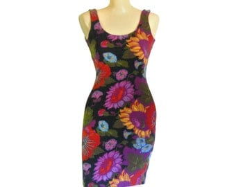 Bodycon Dress 90s Dress 90s Sunflower Dress 90s Party Dress Mini Dress Stretch Dress Women Floral Dress Summer Dress Women Sexy Dress Tight