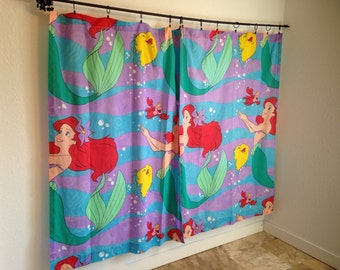 Vintage Curtains, Disney Curtains, The Little Mermaid Curtains, The Little Mermaid Fabric, Bedsheet Curtains