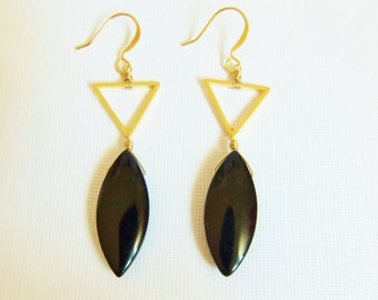 Triangle Dangle Earrings, Black Earrings, Glass Petal Bead Earrings, Dangle Earrings, Gold & Black Earrings