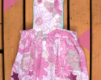 Vintage Pinafore Dress. Handmade from Pink Floral Vintage Fabric. Various Girls sizes made to order. UK Seller.