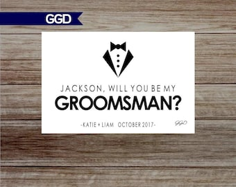 Will You Be My Groomsman Card, bridal party cards, groomsman, groomsman printable card, suit up groomsman card-Print Your Own