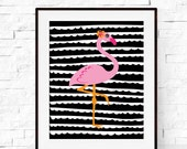 Flamingo Print - Tropical Flamingo Art - Flamingo Poster - Summer Print - Summer Art - Nursery Wall Art - Kids Decor