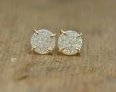White Druzy 14k Gold Earrings