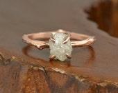 2 Carat Rough Diamond Engagement Ring, 14k Rose Gold