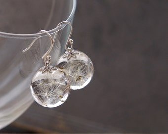Dandelion seeds earrings - crystal resin ball earrings - Real Dandelion Seeds