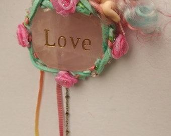 sweet tiny ooak fairy fairie on rose quartz   crystal with swarovski suncatcher crystal heart
