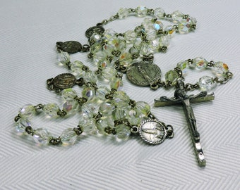 Crystal Rosary, Our Lady of the Snows, Catholic Jewelry, Prayer Beads