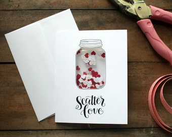Hand Lettered Scatter Love Mason Jar Card with Heart Confetti