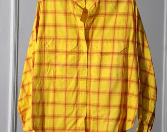 Yellow and Red 80s Plaid Dolman Sleeve Button Up Shirt