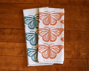 Butterfly Kitchen Towel, Monarch, block print, flour sack towel, orange or turquoise (Made to Order)