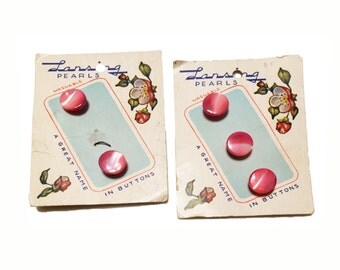 1950s Pink Pearl Buttons 2 Cards 5 Buttons Floral Cards Vintage Lansing Pearlized
