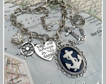 US Navy pride anchor cameo charm bracelet by Son and Sea free US shipping