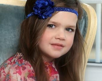 Royal Blue Glitter Headband with Satin & Tulle -  Baby Headband - Glitter Headband - Royal Blue - Satin Headband - Preemie - Headband