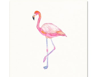 Flamingo Art Print.  Coastal Art.  Girls Room Decor.  Ocean wall art.  Cottage Decor.