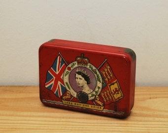 Vintage Oxo tin, Coronation of Queen Elizabeth II, 1953, London souvenir, English history