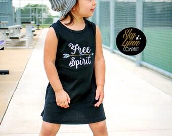 Free Spirit Embroidered Boho Black Tank Dress Toddler Sizes