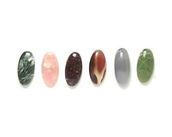 Gemstone Mix, Serpentine, Chalcedony, Agate, Pink Opal, Seraphinite Ellipse Miniature Cabochons, semiprecious gem stones, DIY Craft Geo Gems