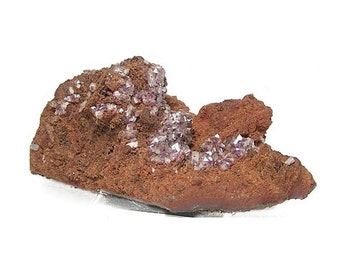 Purple Mangan Adamite Crystals on limonite country rock matrix Mineral Specimen Rare Natural Gemstone mined in Mexico in the 1980's