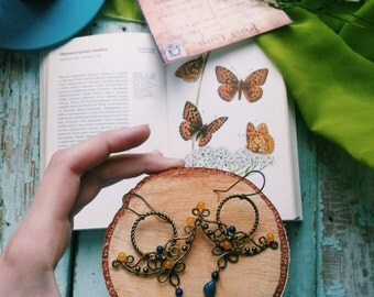 Wire Wrapped Brass Arabic Earrings -   Eastern Filigree Earrings - Brass Moroccan Earrings -  Chandelier Dangle Earrings blue yellow