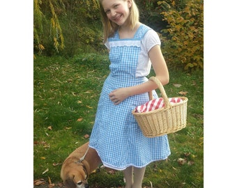 Upcycled Steampunk Clothing - Dorothy Costume - Wizard of Oz, Upcycled Blue Gingham Apron, Youth/Ladies S/XS