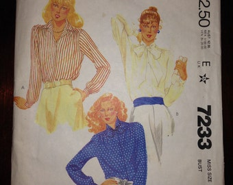 McCalls 7233 Sewing Pattern 80s Misses Blouses Size 16