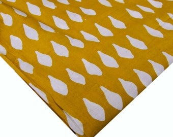 Natural Dyed Printed Mustard and White Fabric - Handblock Printed Bagru Cotton Fabric - White and Mustard Block Print Pure Cotton Fabric
