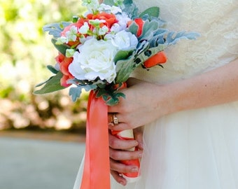 Rose Wedding Bouquet- Silk and Real Touch Flower Bridal Bouquet Groom's Boutonniere Coral Ribbon- Customized To Your Wedding Colors
