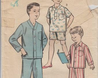 1950s Boys Pajamas Vintage Sewing Pattern | Size 4 | Advance 8487 | 50s Kids Pajama Pattern | Pajama Shorts | Long Sleeved Pajamas | Buttons