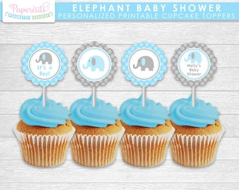 Elephant Theme Baby Shower Cupcake Toppers   Blue & Grey   Personalized   Printable DIY Digital File