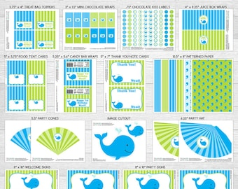 Whale Theme LARGE Birthday Party Package | Blue & Green | Personalized | Printable DIY Digital Files