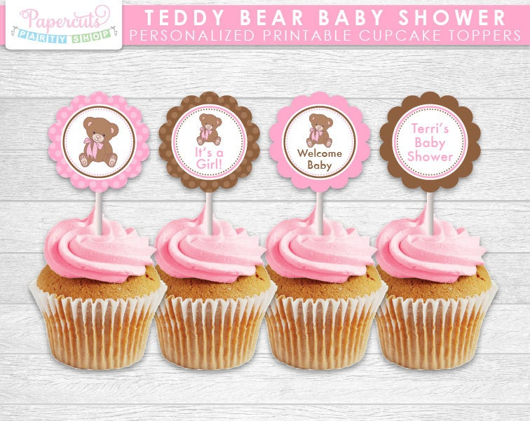 teddy bear theme baby shower cupcake toppers pink brown