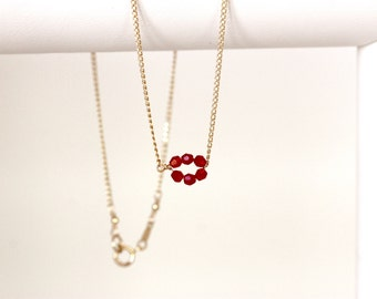 tiny circle red Swarovski crystal necklace | minimalist | 14k gold filled chain | dainty cherry red crystal necklace | handmade girlthree