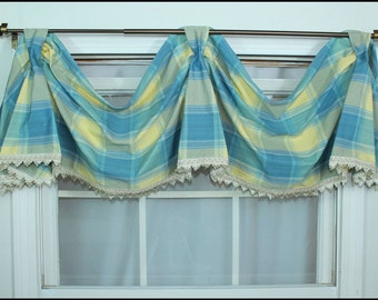 Blue & Yellow Plaid Swagged Bell Valance