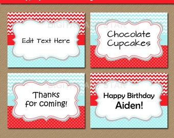 Aqua Red Chevron Buffet Cards, Tent Cards - Editable Printable Candy Buffet Labels - Diy Food Labels - Boy Birthday Labels - INSTANT