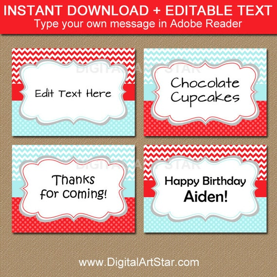 Aqua Red Candy Buffet Labels Buffet Cards Printable Tent