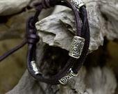 Leather Bracelet cord Silver Wind Swirls