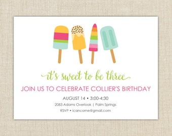 Popsicle Invitation.  Popsicle Birthday Invitation. Popsicle Party