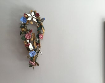 1800's Pressed Metal Wreath Wedding Ornament from France