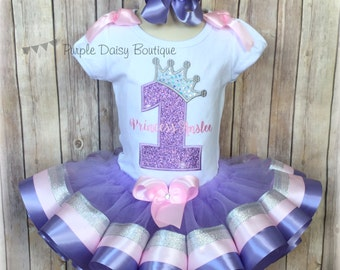 Princess Crown Birthday Outfit in Purple, Pink, and Silver - Princess Ribbon Trim Tutu Outfit - First Birthday Outfit - Number with Crown