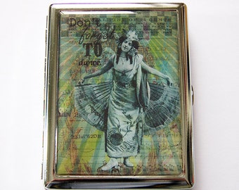 Metal cigarette case, Cigarette Case, Cigarette box, Green, Metal Wallet, Case for smokes, Dont forget to dance, case for pot (5254)