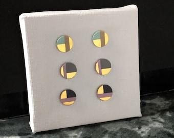 SALE / Porcelain medium dot stud earrings-choose- art deco style, 24k gold painted, earrings studs, gift for her, porcelain studs