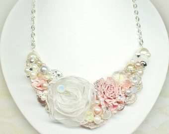 Blush Bridal Necklace- Bridal Statement Bib- Wedding Statement Necklace- Blush Pink Bridal Bib- Brass Boheme- Blush Bridesmaid Necklace