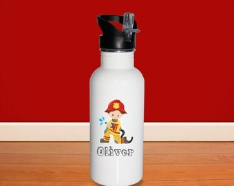 Firefighter Kids Water Bottle - Firefighter Boy or Girl with Name, Child Personalized Stainless Steel Bottle BPA Free Back to School