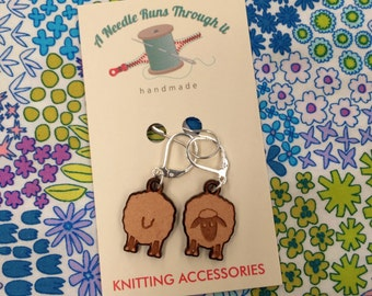Sheep front and back stitch markers, right side, wrong side  wood sheep markers.  Earrings or removable st. markers for knitting and crochet