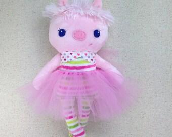 piggy in tutu stuffed animal cloth doll free shipping